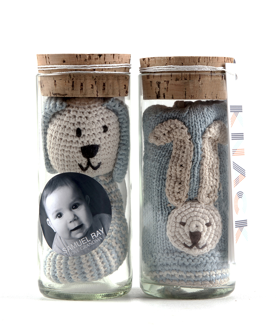 Baby Gift Sets; Glass Jars; recycling; glass; toys; Christine Cox; Seattle Photographer; Product photography; Seattle WA